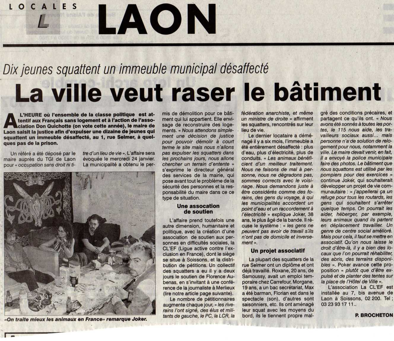 Squat de la rue Selmer, article de presse